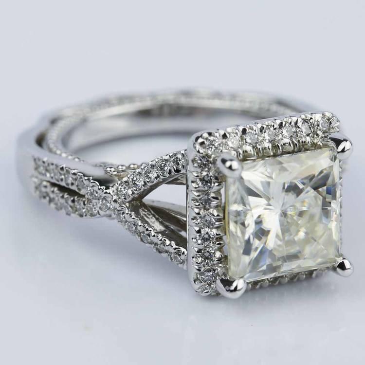 Cross Split-Shank Princess Moissanite Engagement Ring (8 mm.) angle 3