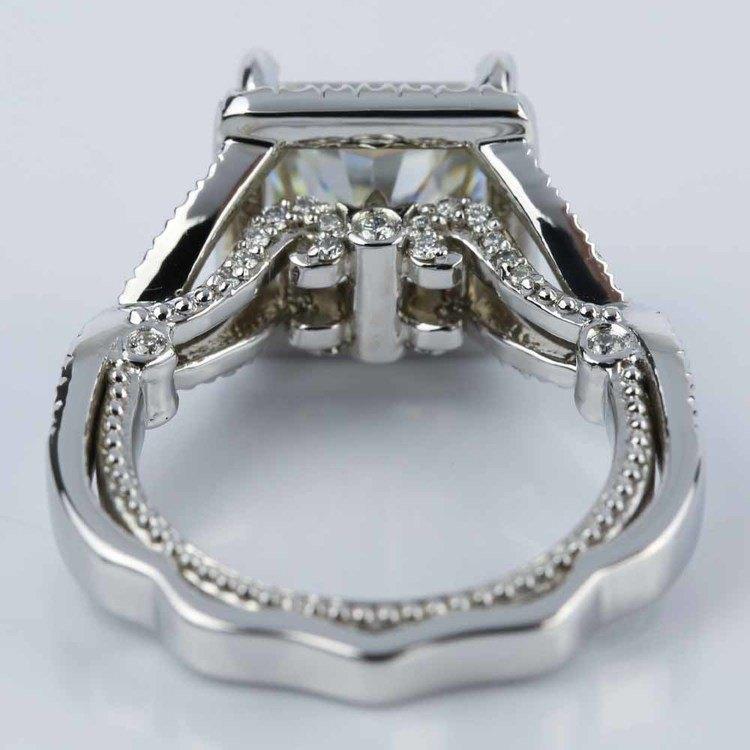 Cross Split-Shank Princess Moissanite Engagement Ring (8 mm.) angle 4