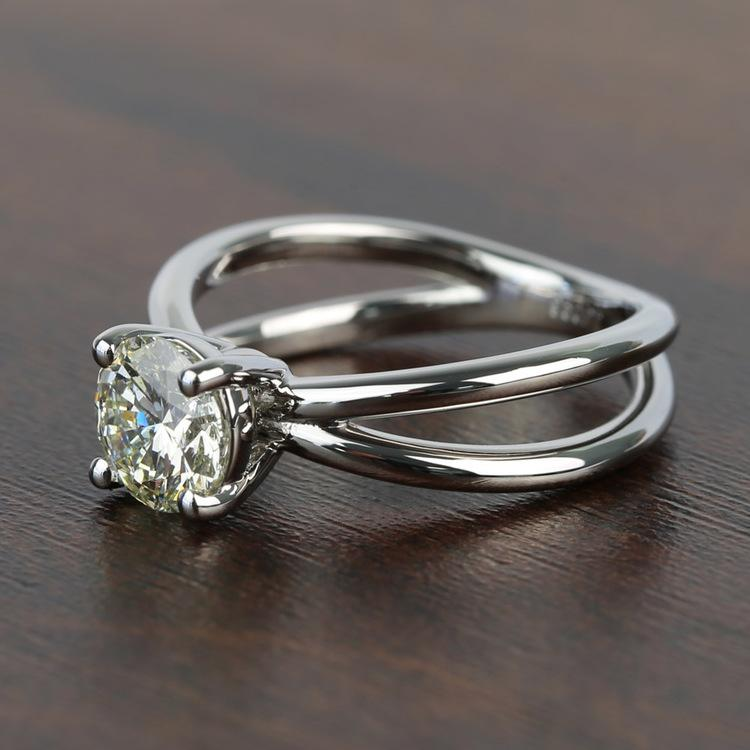 Cross Split Shank Solitaire Round Loose Diamond Engagement Ring angle 2