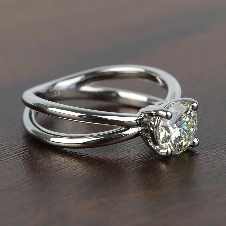 Cross Split Shank Solitaire Round Loose Diamond Engagement Ring angle 3