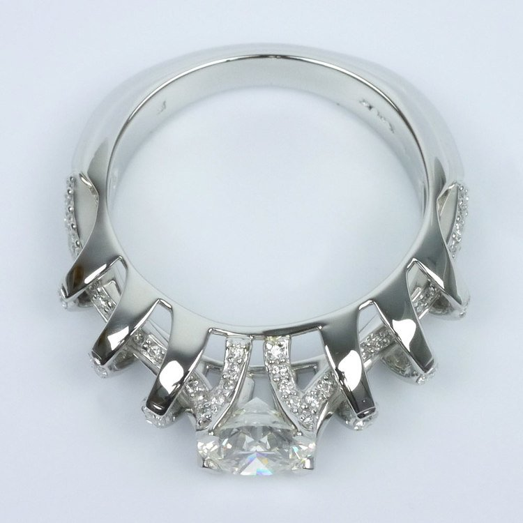 Crowned Split Shank Diamond Engagement Ring angle 4