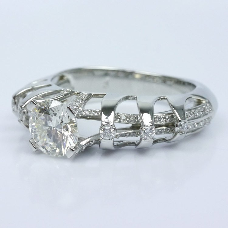 Crowned Split Shank Diamond Engagement Ring angle 2