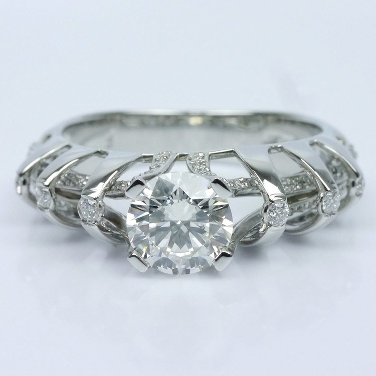 Crowned Split Shank Diamond Engagement Ring