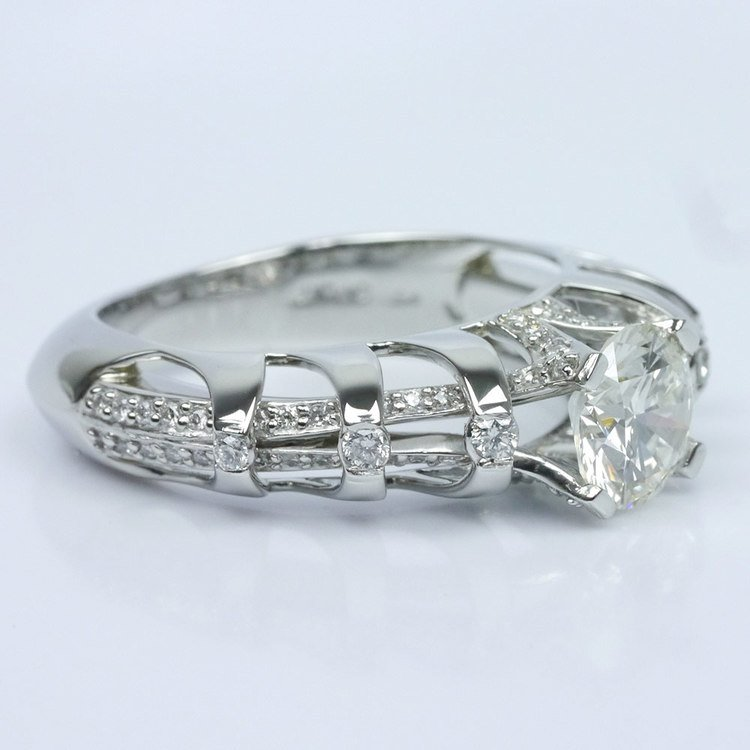 Crowned Split Shank Diamond Engagement Ring angle 3