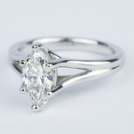 Curved Split Shank Marquise Diamond Engagement Ring - small angle 2