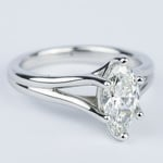 Curved Split Shank Marquise Diamond Engagement Ring - small angle 3