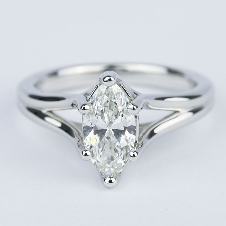 marquee marquise shape engagement stone ring three diamond