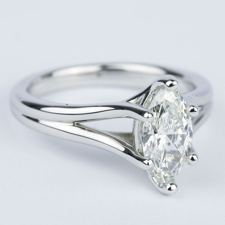 Curved Split Shank Marquise Diamond Engagement Ring angle 3