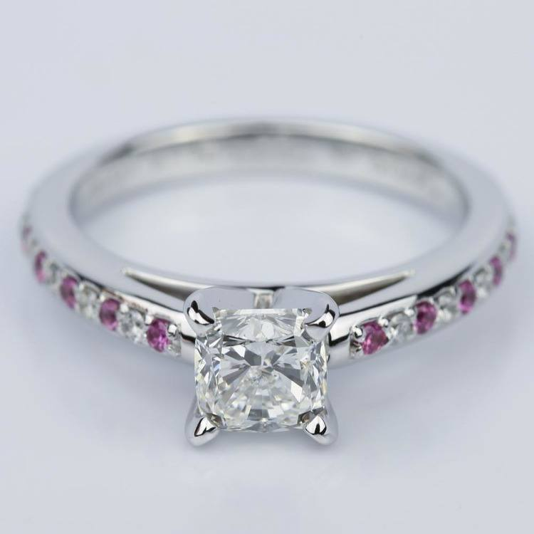Cushion Cut Cathedral Diamond & Pink Sapphire Gemstone Engagement Ring in White Gold (1.01 ct.)