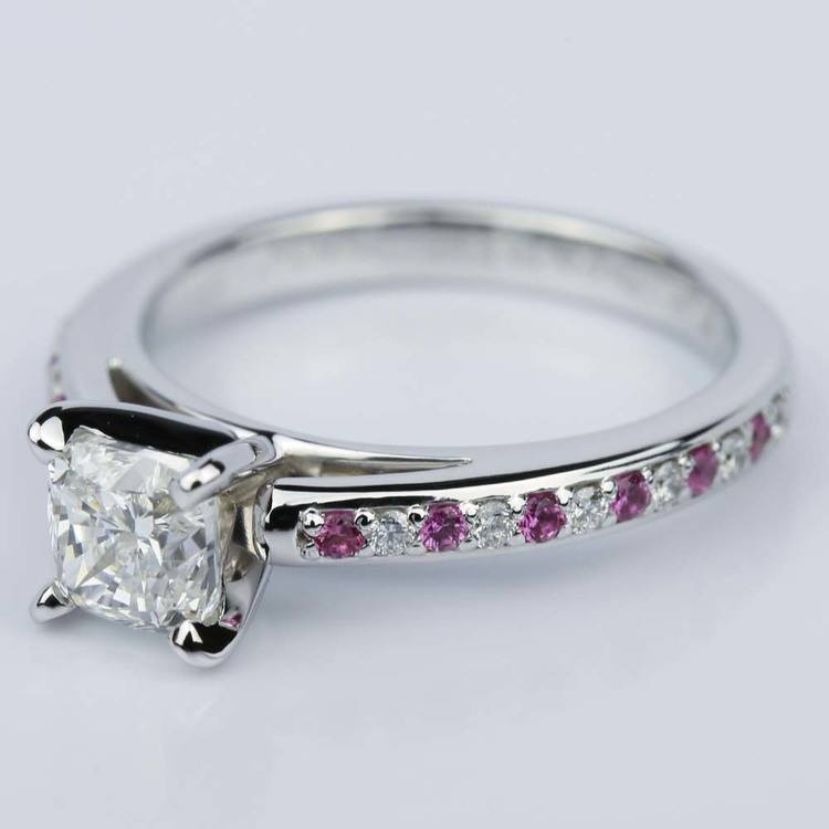 Cushion Cut Cathedral Diamond & Pink Sapphire Gemstone Engagement Ring in White Gold (1.01 ct.) angle 2