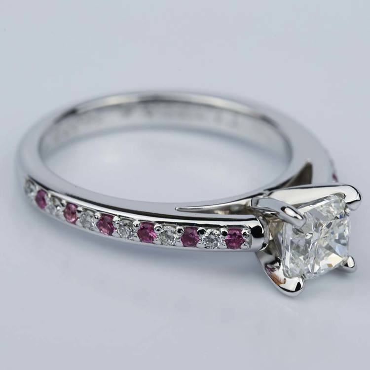 Cushion Cut Cathedral Diamond & Pink Sapphire Gemstone Engagement Ring in White Gold (1.01 ct.) angle 3