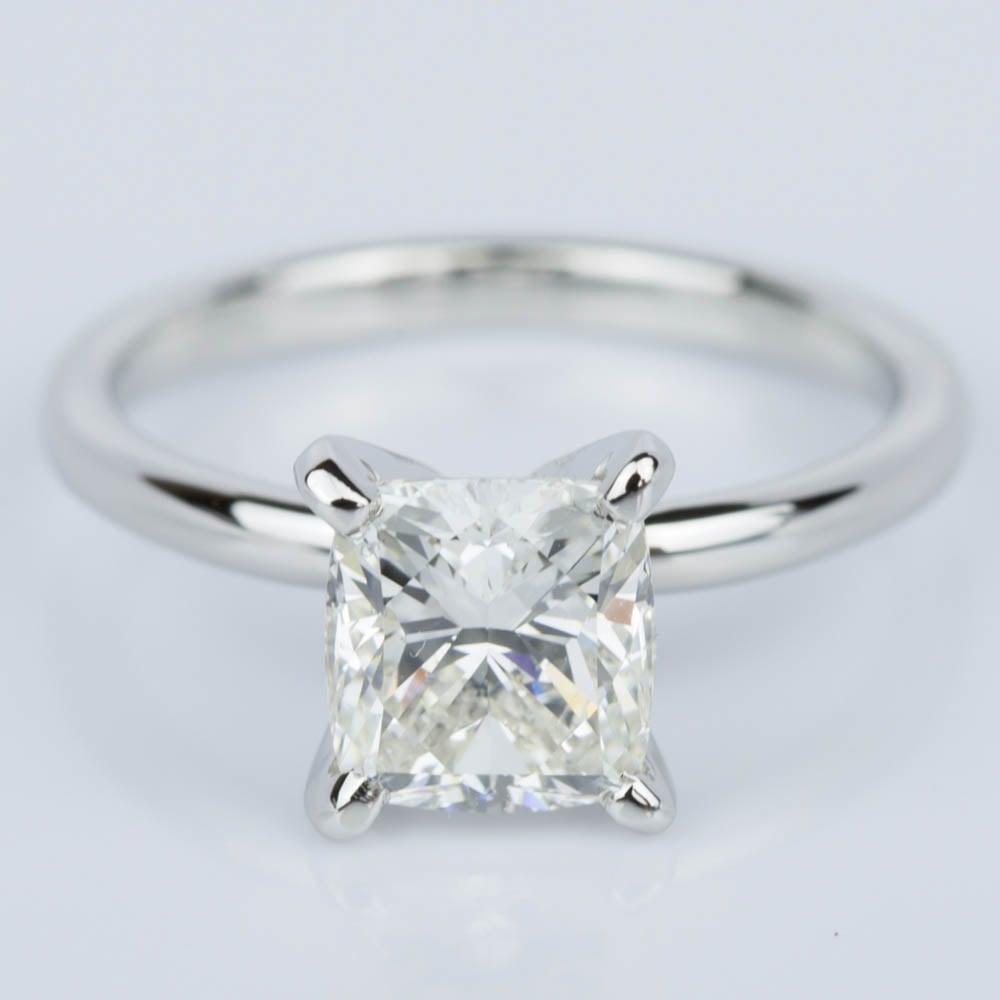 Cushion Cut Diamond Solitaire Engagement Ring in Platinum 1 50 ct