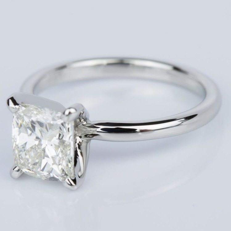 Cushion Cut Diamond Solitaire Engagement Ring in Platinum (1.50 ct.) angle 2