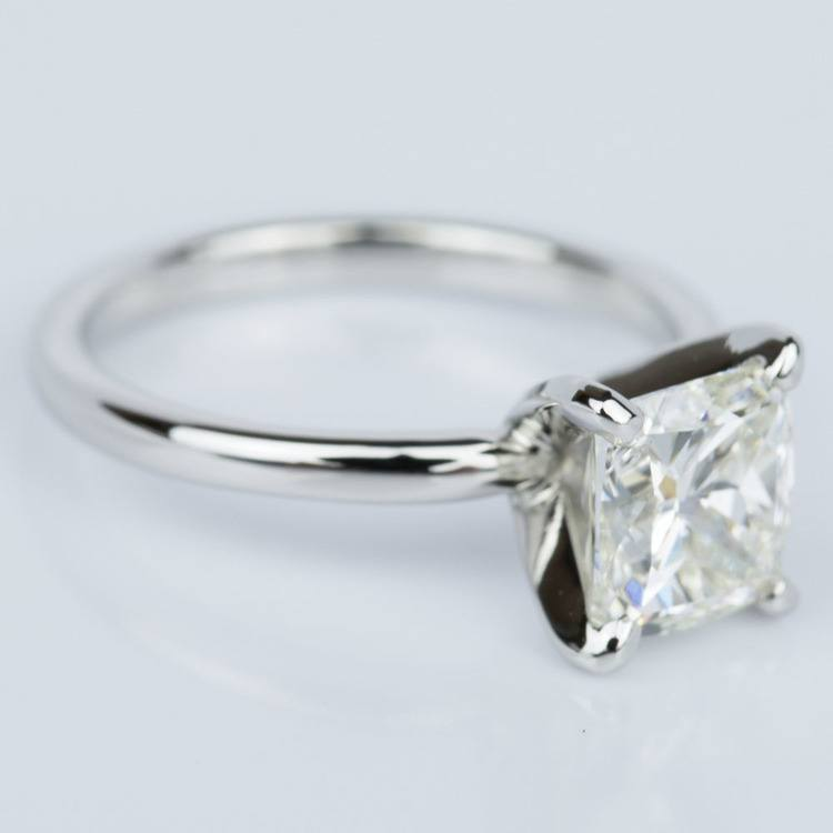 Cushion Cut Diamond Solitaire Engagement Ring in Platinum (1.50 ct.) angle 3