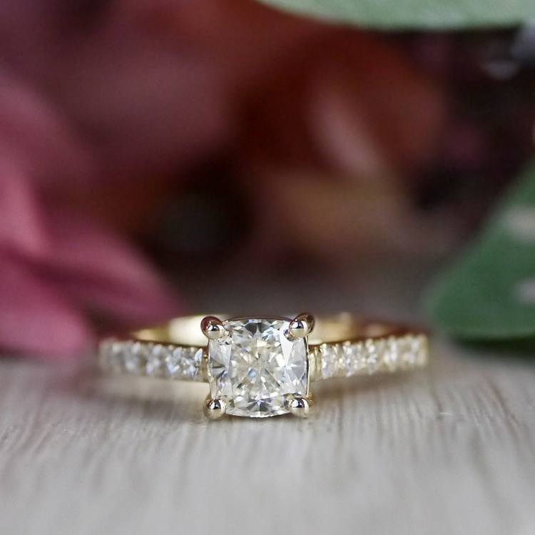 Cushion Cut Diamond Trellis Engagement Ring angle 5