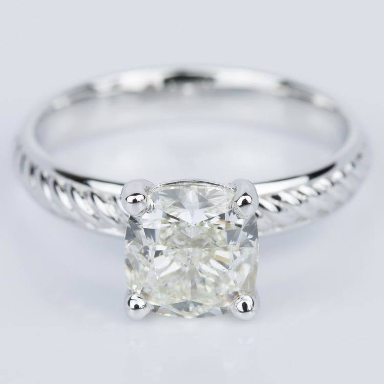 Cushion Cut Diamond with Twisted Rope Engagement Ring (1.91 ct.)
