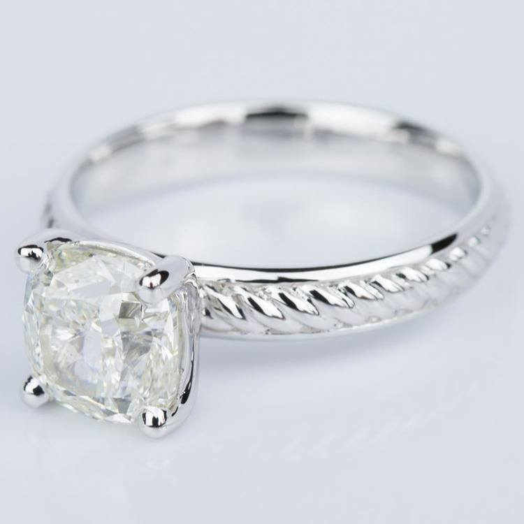 Cushion Cut Diamond with Twisted Rope Engagement Ring (1.91 ct.) angle 2