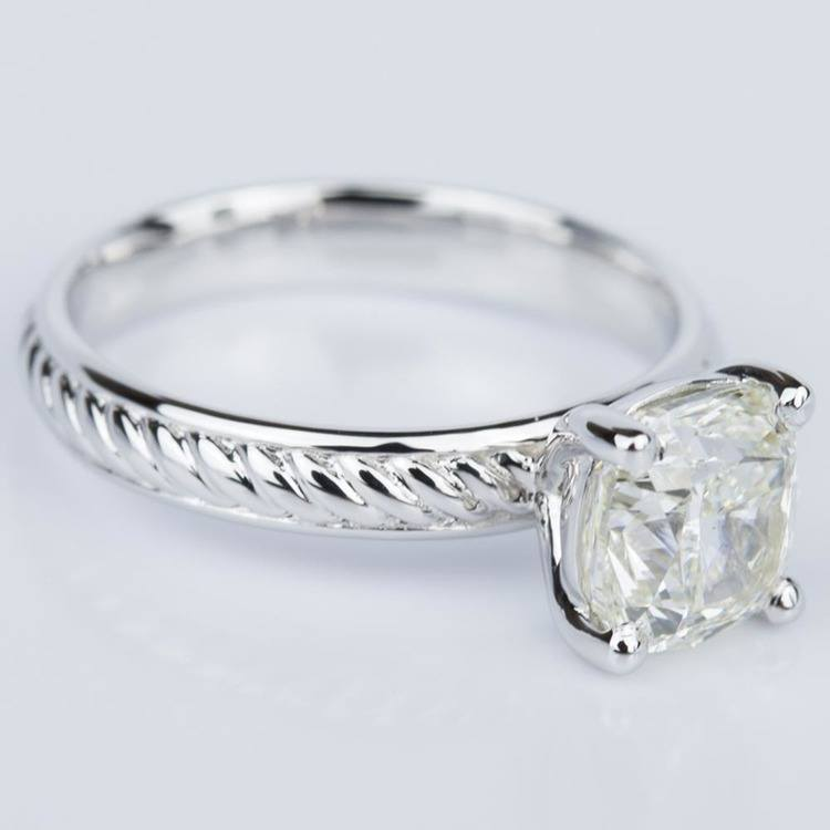 Cushion Cut Diamond with Twisted Rope Engagement Ring (1.91 ct.) angle 3