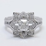 Custom Floral 1 Carat Cushion Diamond Engagement Ring - small