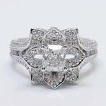 Custom Floral 1 Carat Cushion Diamond Engagement Ring - small