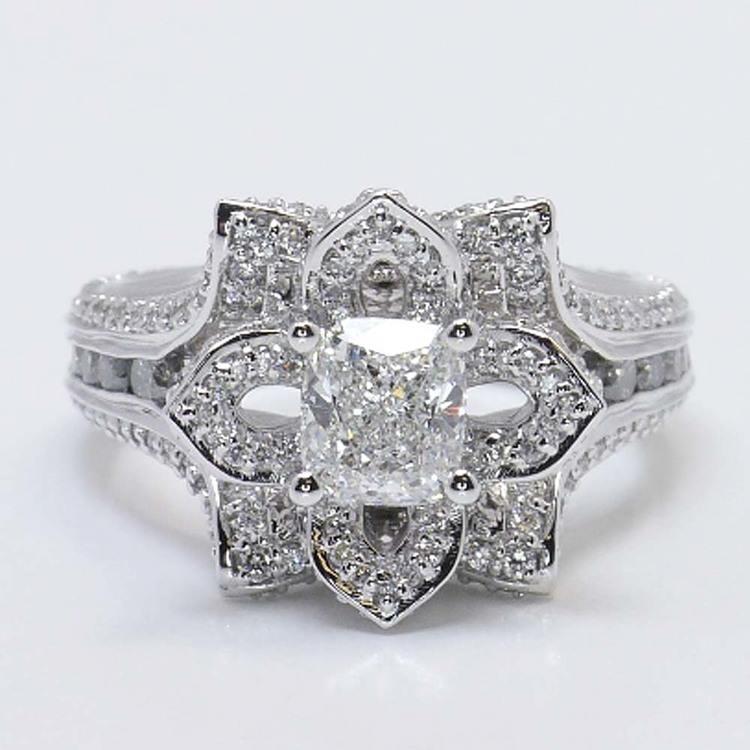 Custom Floral 1 Carat Cushion Diamond Engagement Ring