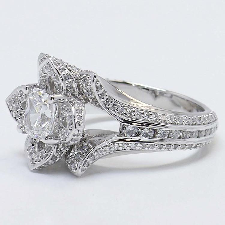 Custom Floral 1 Carat Cushion Diamond Engagement Ring angle 2