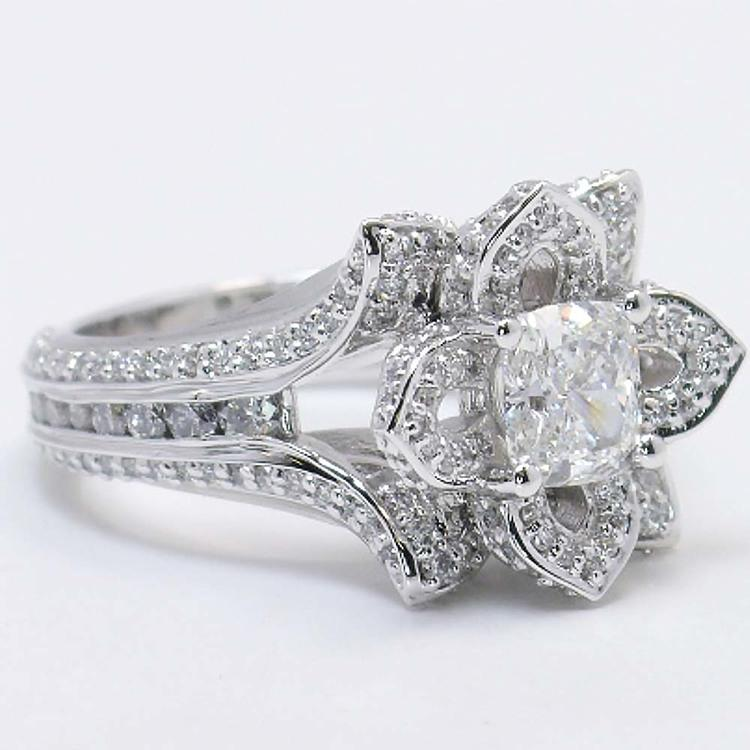 Custom Floral 1 Carat Cushion Diamond Engagement Ring angle 3