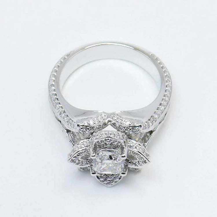 Custom Floral 1 Carat Cushion Diamond Engagement Ring angle 4