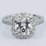 Cushion Cut Micropave Halo Diamond Engagement Ring - small