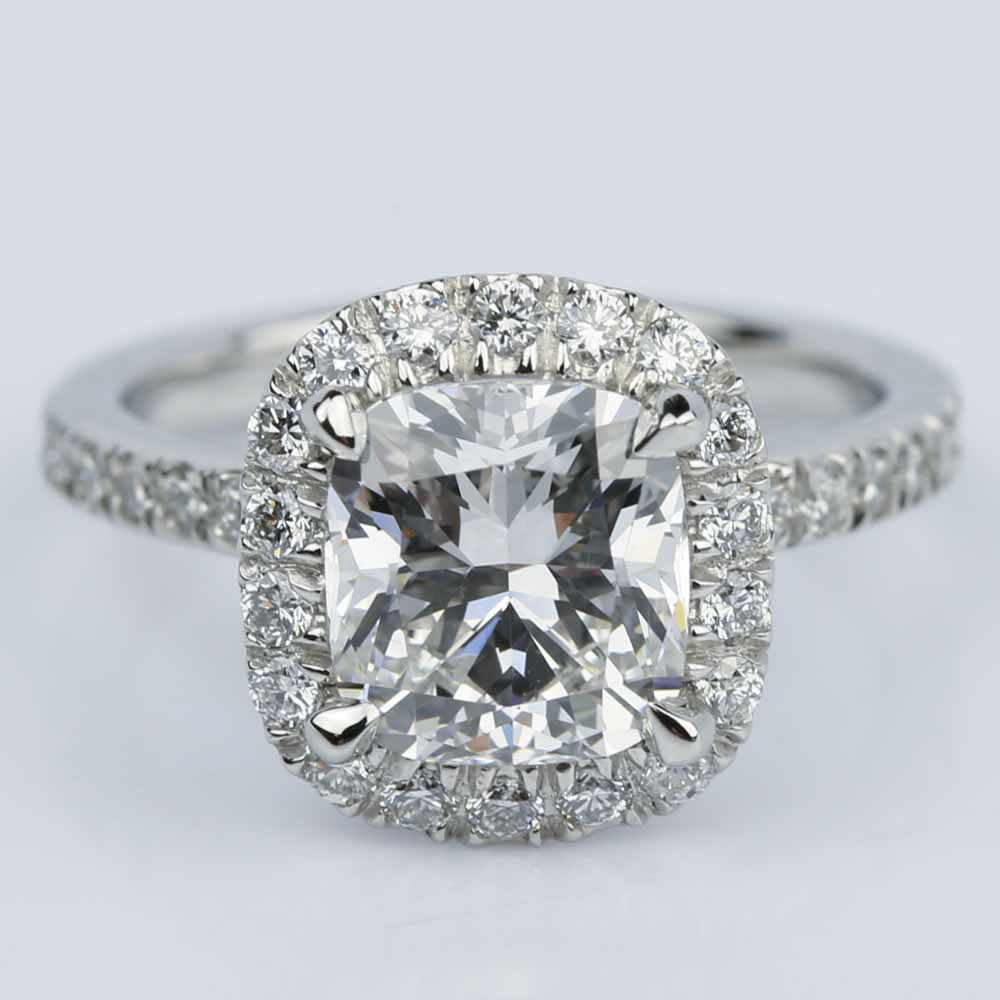 Cushion Cut Micropave Halo Diamond Engagement Ring