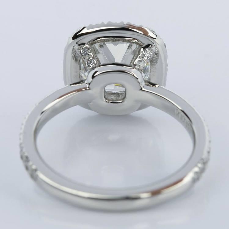 Cushion Cut Micropave Halo Diamond Engagement Ring angle 2