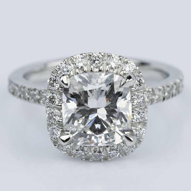 Cushion Cut Micropave Halo Diamond Engagement Ring