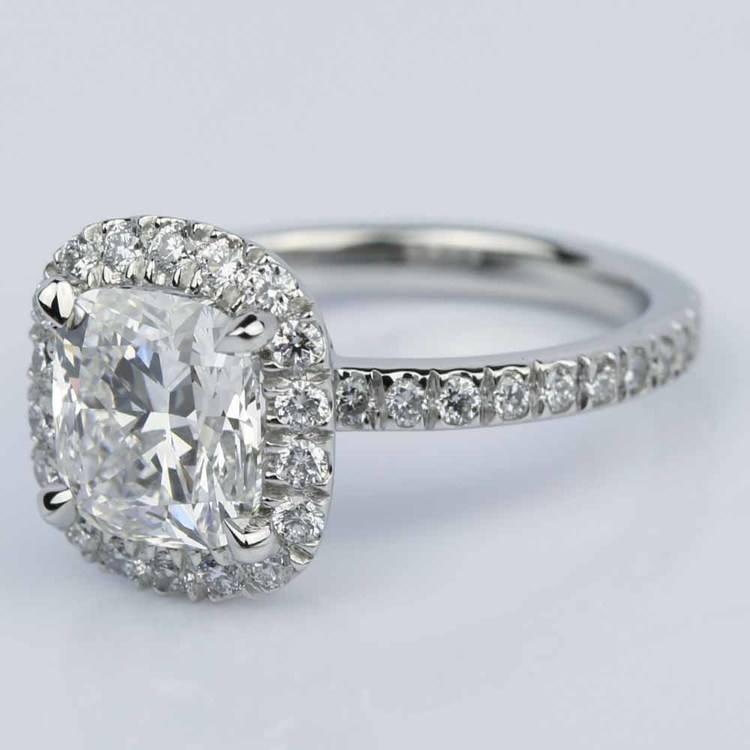 Cushion Cut Micropave Halo Diamond Engagement Ring angle 3