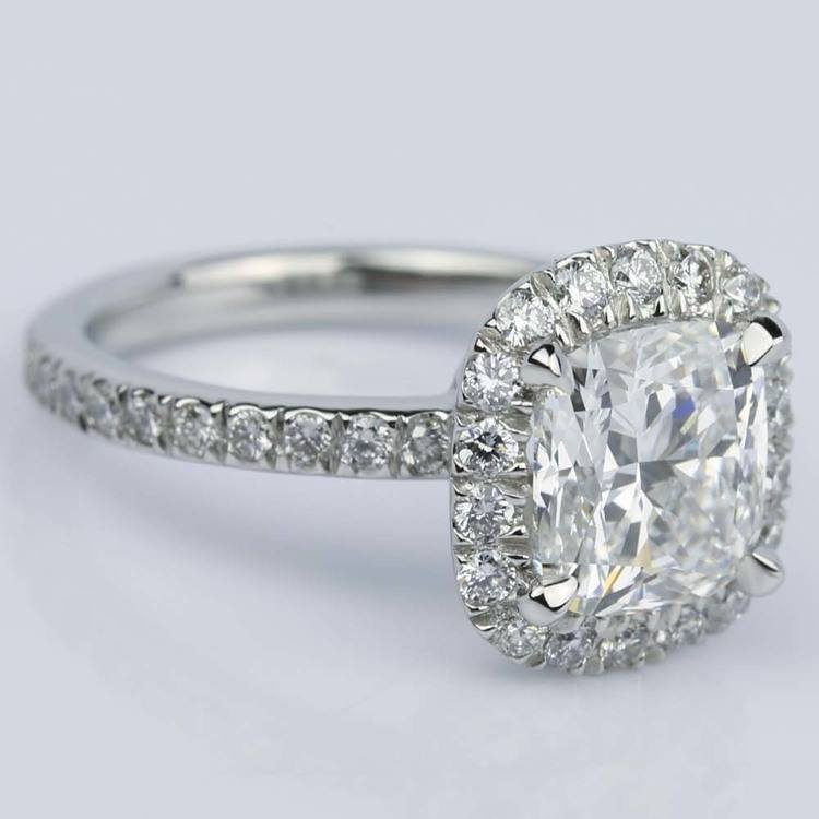 Cushion Cut Micropave Halo Diamond Engagement Ring angle 4