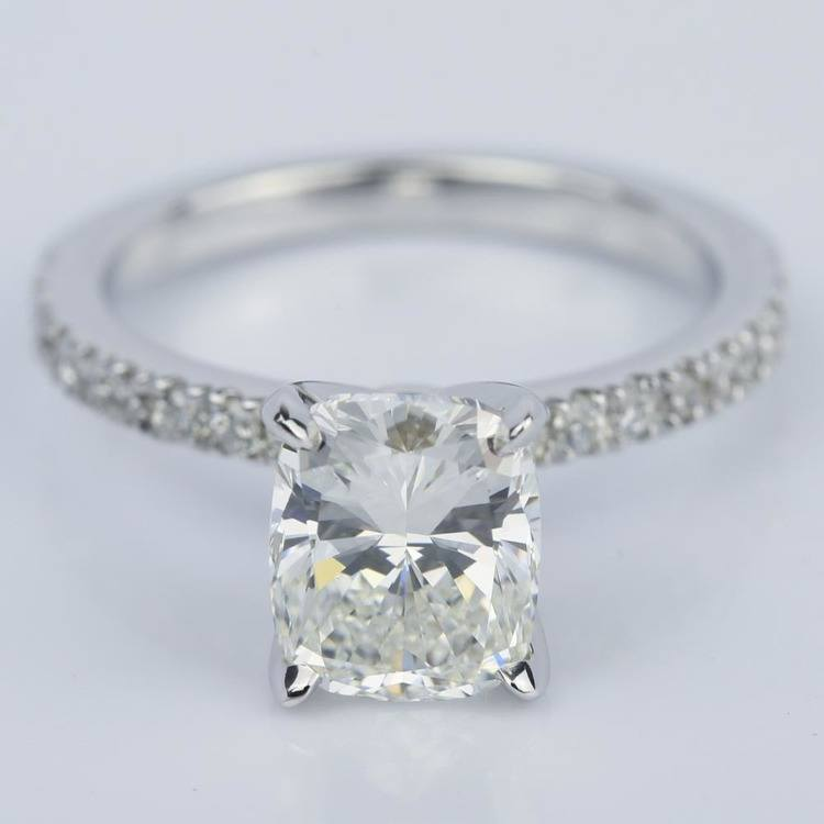 Cushion Diamond Engagement Ring with Claw Prongs (2 Carat)