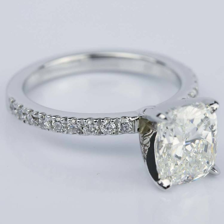 Cushion Diamond Engagement Ring with Claw Prongs (2 Carat) angle 3