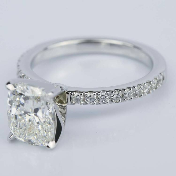 Cushion Diamond Engagement Ring with Claw Prongs (2 Carat) angle 2