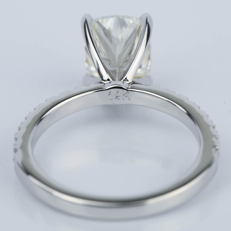 Cushion Diamond Engagement Ring with Claw Prongs (2 Carat) angle 4