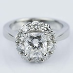 Cushion Diamond Floral Halo Engagement Ring (1.30 ct.) - small