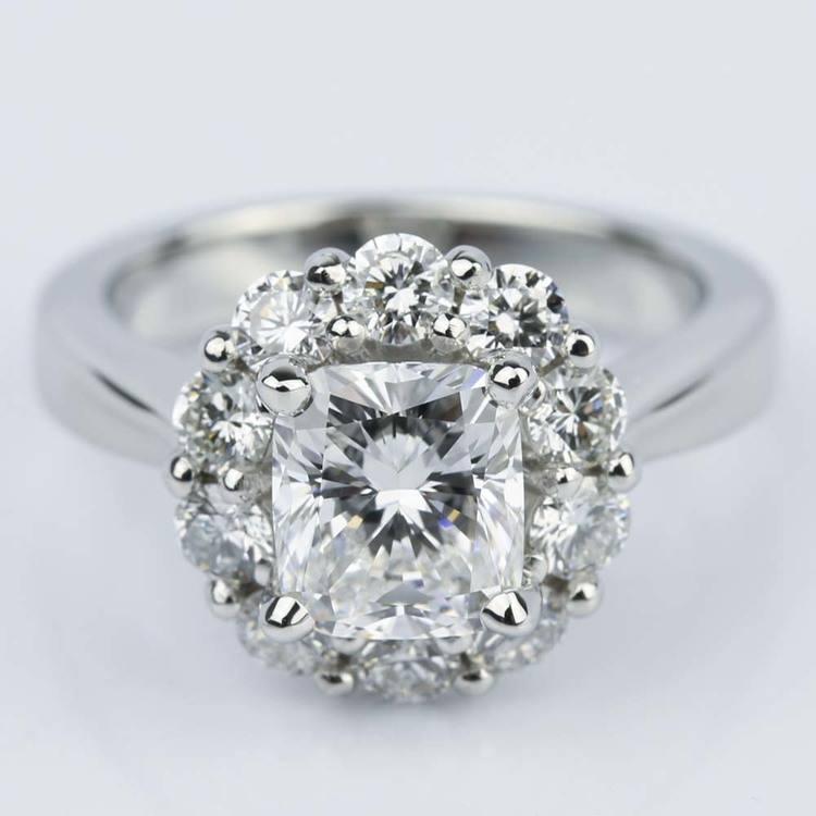 Cushion Diamond Floral Halo Engagement Ring (1.30 ct.)