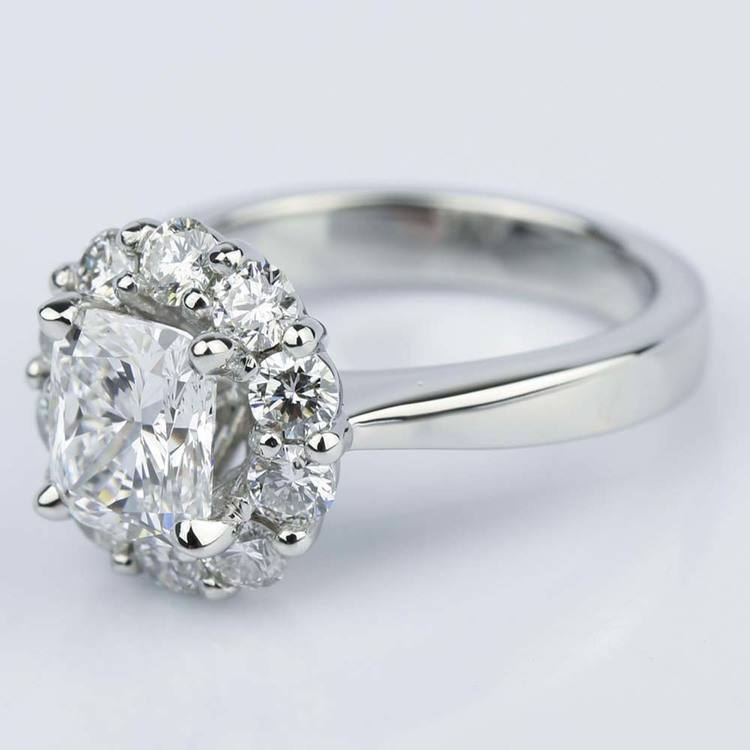 Cushion Diamond Floral Halo Engagement Ring (1.30 ct.) angle 2