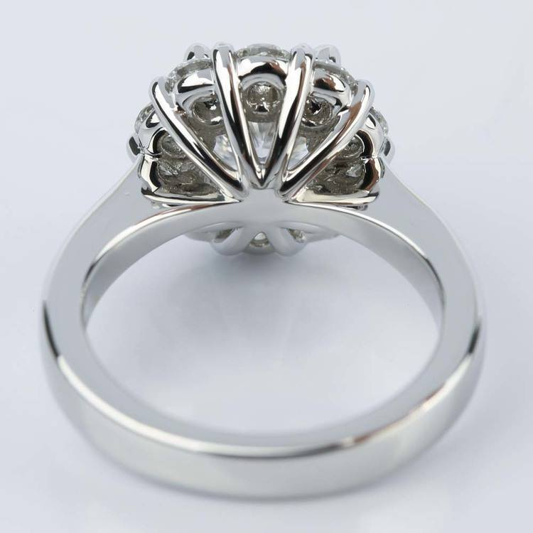 Cushion Diamond Floral Halo Engagement Ring (1.30 ct.) angle 4