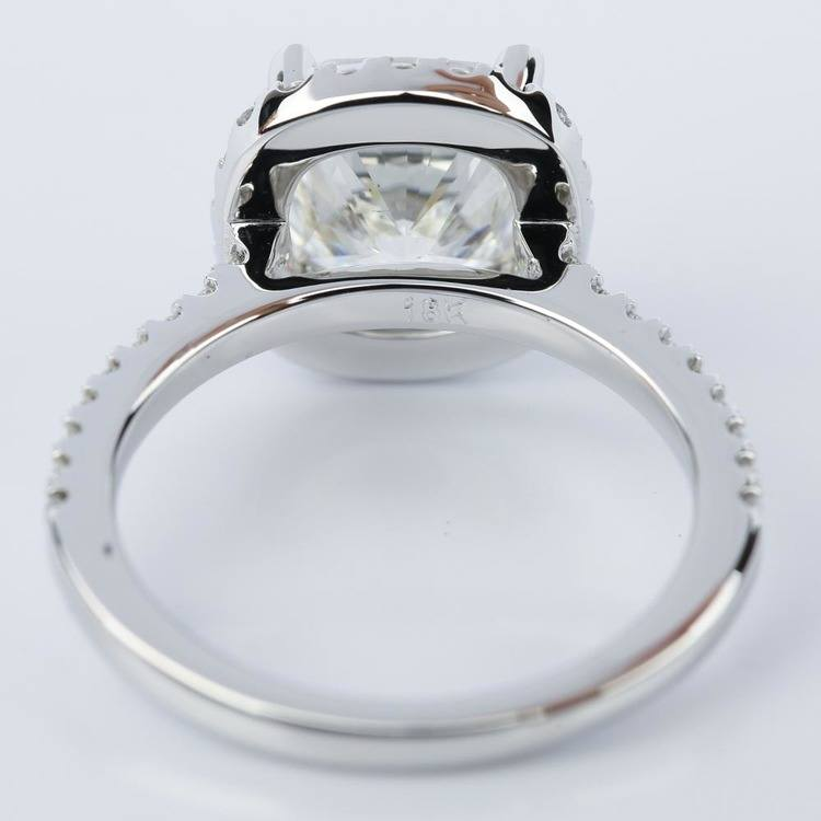 Cushion Diamond Halo Engagement Ring in White Gold (3.06 ct.) angle 4