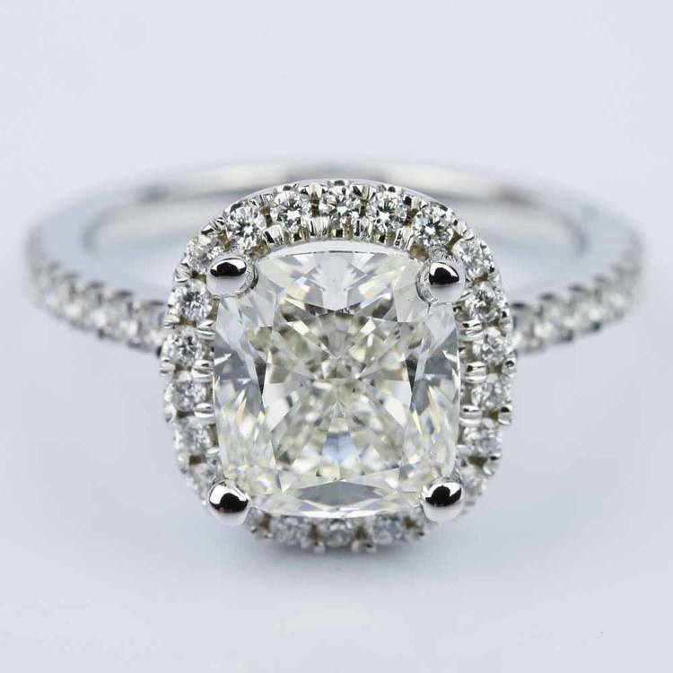 Cushion Diamond Halo Engagement Ring in White Gold (3.06 ct.)