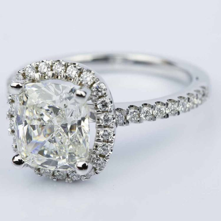 Cushion Diamond Halo Engagement Ring in White Gold (3.06 ct.) angle 2