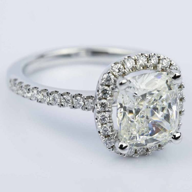 Cushion Diamond Halo Engagement Ring in White Gold (3.06 ct.) angle 3