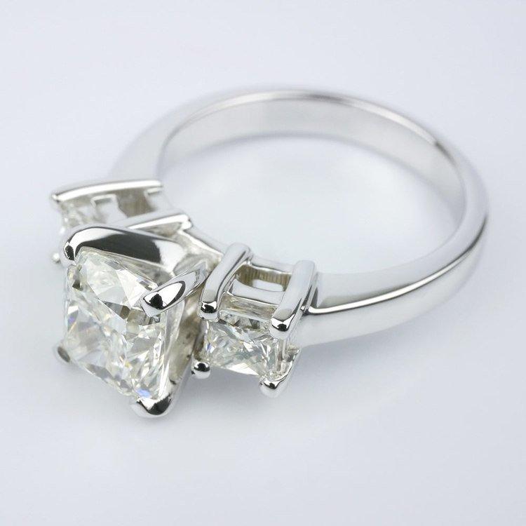 Cushion Diamond Ring With Two Princess angle 2