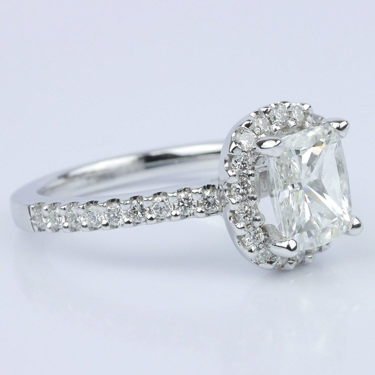 Cushion Halo Diamond Engagement Ring (1.21 ct.) angle 3