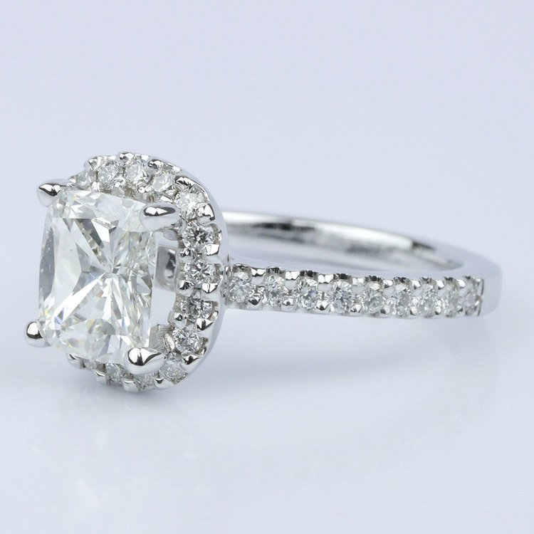 Cushion Halo Diamond Engagement Ring (1.21 ct.) angle 2