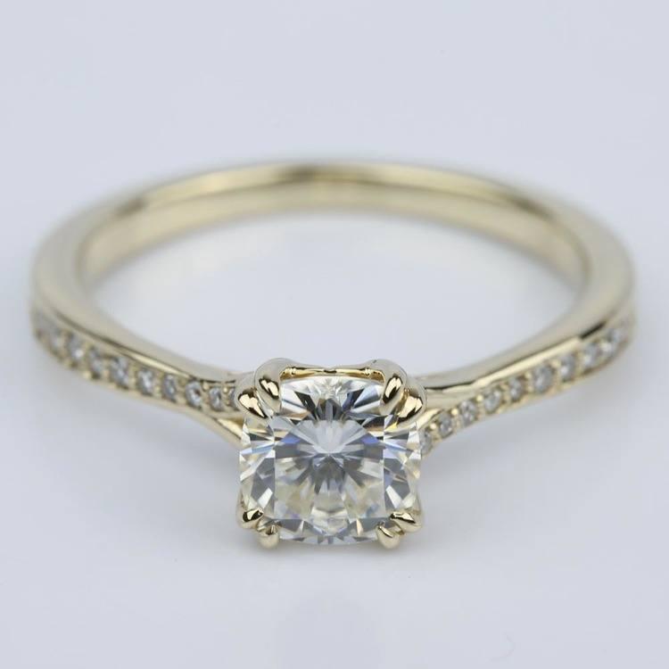 Cushion Moissanite Split Shank Diamond Engagement Ring